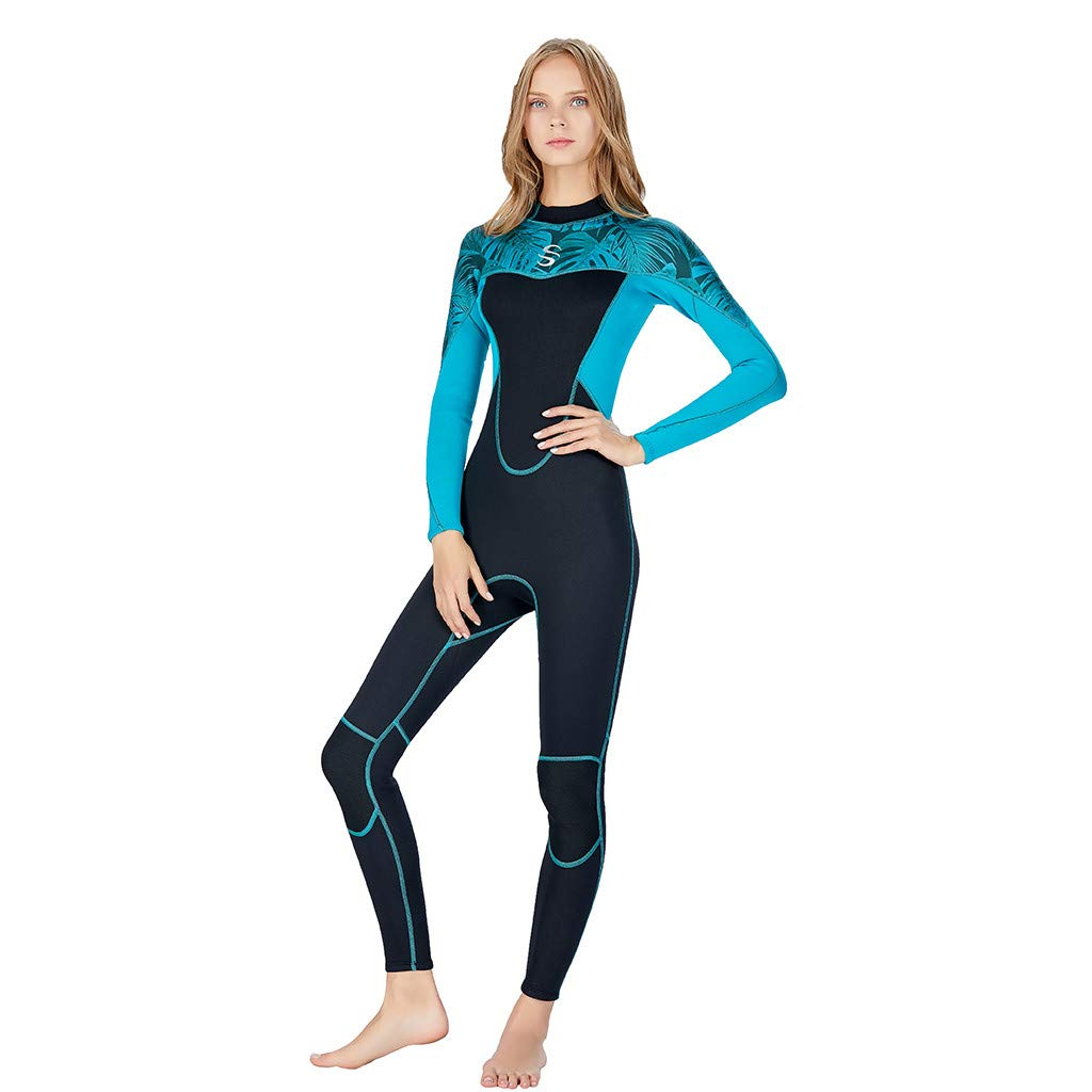 Meidexian888 Super Stretch Swimsuit,Full Body Wetsuit Surf Swim Diving Steamer for Women (Blue, XS)