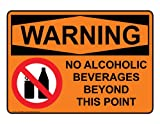 no alcoholic beverages - ComplianceSigns Vinyl OSHA WARNING Label, 10 x 7 in. with Alcohol / Drugs Info in English, Orange