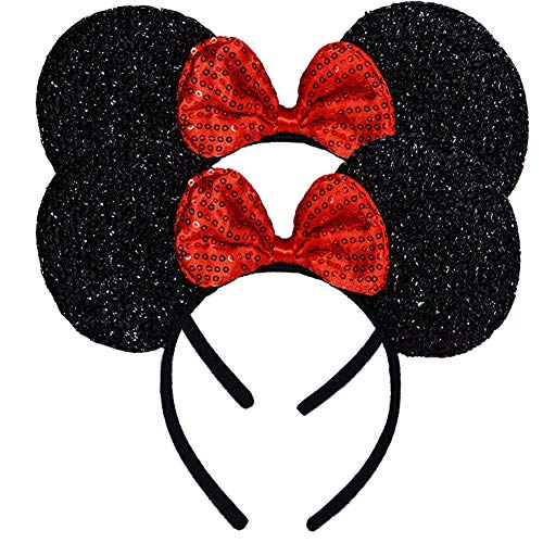 Pack of 2 Mickey Minnie Mouse Ears, Minnie Mouse Red Bow Sparkled Headband for Baby Boys Girls Birthday Party (Red Sparkled) ()