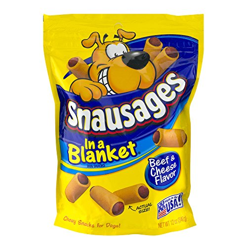 Snausages in a Blanket, Beef & Cheese Snacks for Dogs, 12-Ounce Pouches (Pack of 10)