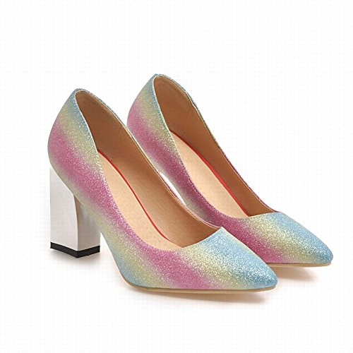 Mee Shoes Women's Charm Block Heel Pointed Toe Slip On Court Shoes Color 3 GABAH