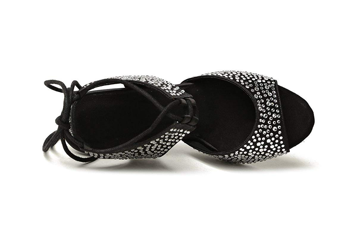 Qiusa GL251 Damen Lace-up-Kristalle Schwarz Satin Latin Dancing Schuhe Schuhe Schuhe Abend Sandalen UK 7.5 (Farbe   - Größe   -) 5f7b98