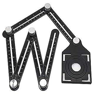 Haol Regla de angularización, Herramienta de Plantilla de ángulos de múltiples Funciones Localizador de guía de Taladro de aleación de Aluminio para constructores de manitas DIY Carpinteros