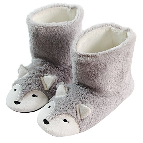 Fox Fleece Slippers | Plush Indoor/Outdoor Bootie Slippers | Furry Winter Boot Home Slippers | Womens Anti-Slip Bootie (6.5-7, Fox Boot) Grey ()