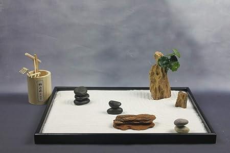 Hjyi Meditación Zen Garden,Jardin Zen Japonés Escritorio Mesa de Arena Seca Papel de Lija Estudio Hogar Salón Decoración Micro Paisaje: Amazon.es: Hogar