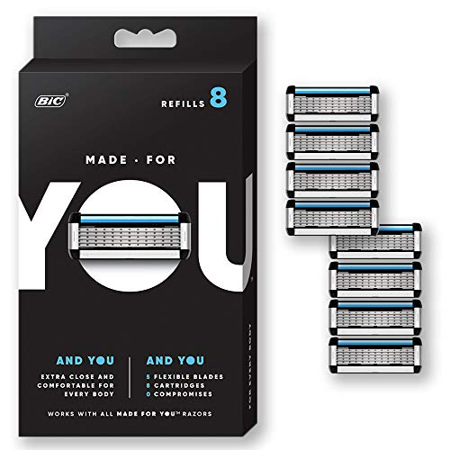Made for YOU by BIC Shaving Razor Blades for Men and Women, 8-Count - Refill Cartridges with 5 Blades for a  Close Shave with Aloe Vera and Vitamin E (Best Bic Ladies Razors)