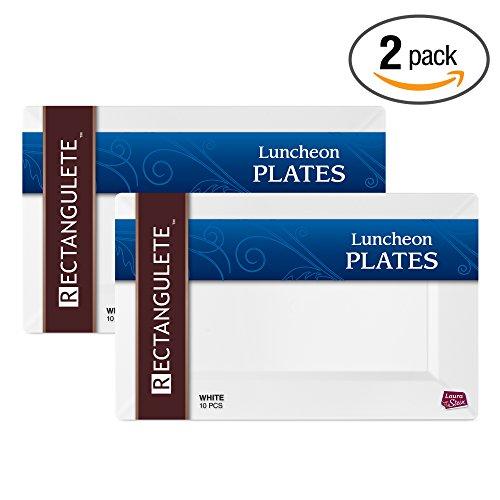 - Rectangulete 12'' Rectangle White Luncheon - Dinner Plates, Disposable, Hard Plastic, Elegant Party Plates. 10 Party Luncheon - Dinner Plates Per Package, Pack of 2