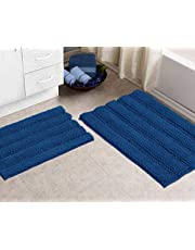 Zebrux Non Slip Thick Shaggy Chenille Bathroom Rugs, Bath Mats for Bathroom Extra Soft and Absorbent - Striped Bath Rugs Set for Indoor/Kitchen (Rectangular Set, Blue)