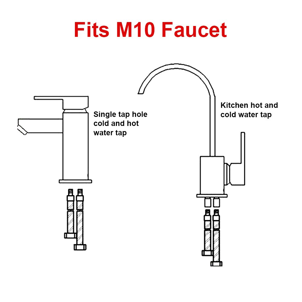 HOMEIDEAS 40-inch Faucet Connector 3/8-Inch Female Compression Thread x M10 Male Braided Stainless Steel Supply Hose Connector Replacement Pack of 2(1 Pair) by HOMEIDEAS (Image #3)