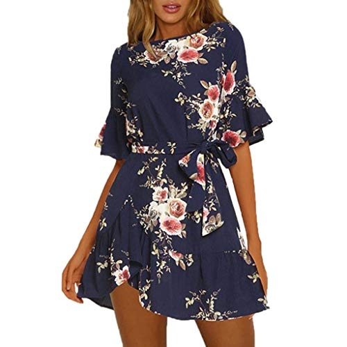 (Women Summer Dress,Ladies Ruffles Short Sleeve Floral Print Evening Party Mini Dress Navy)