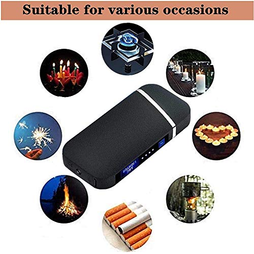 Dual Arc Plasma Lighter, USB Rechargeable Windproof Flameless Electric Lighter with for Fire Outdoors Adventure Camping Hiking