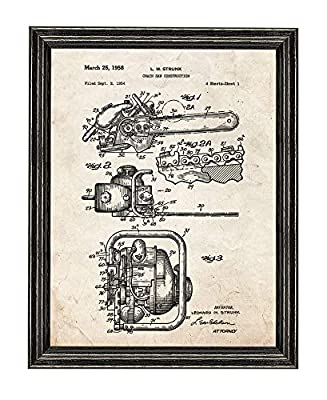 Chain Saw Patent Art Print in a Black Wood Frame M14275