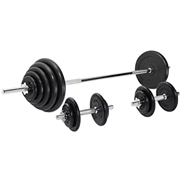 Gorilla Sports - Pesa de caucho negro juego de pesas 100 kg ...