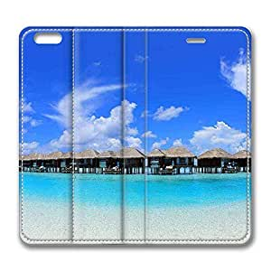 Brain114 6 Plus, iPhone 6 Plus Case, iPhone 6 Plus 5.5 Case, Overwater Bungalows 2 PU Leather Flip Protective Skin Case for Apple iPhone 6 Plus 5.5