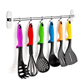 Gricol Kitchen Utensil Hooks,6 Sliding Hooks,Kitchen Storage Rack Organizer,Stainless Steel Wall Mount for Kitchen Tools, Pot, Towel, Polished Finish