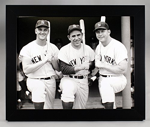 Framed New York Yankees Roger Maris, Yogi Berra, and Mickey Mantle 8x10 Photograph.