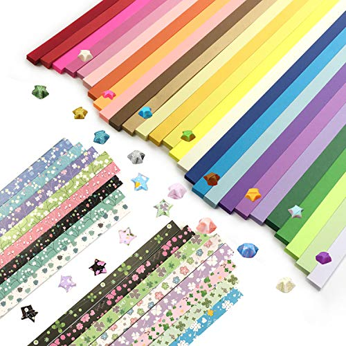 (Wartoon Double Sided Origami Stars Paper and Single Sided Floral and Four-Leaf Clover Paper Set, 2150 Sheets)