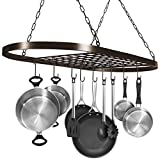 kitchen pots pans - Sorbus Pot and Pan Rack for Ceiling with Hooks — Decorative Oval Mounted Storage Rack — Multi-Purpose Organizer for Home, Restaurant, Kitchen Cookware, Utensils, Books, Household (Hanging Bronze)