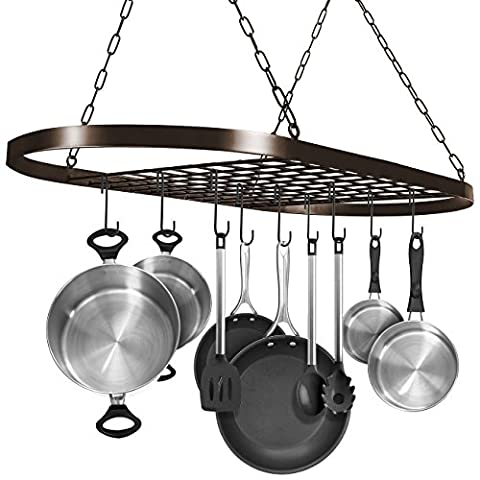 Sorbus Pot and Pan Rack for Ceiling with Hooks — Decorative Oval Mounted Storage Rack — Multi-Purpose Organizer Great for Home, Restaurant, Kitchen Cookware, Utensils, Books, Household Items - Lighted Pot Rack