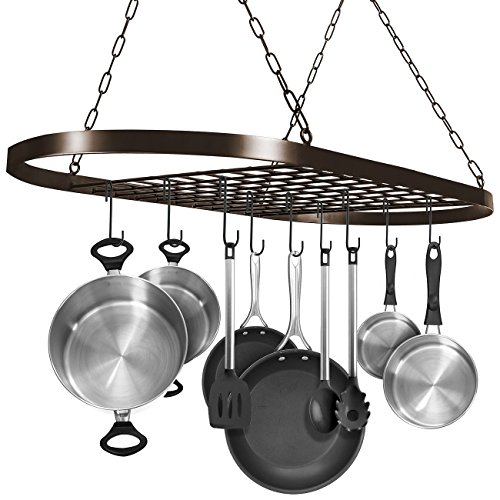 Sorbus Pot and Pan Rack for Ceiling with Hooks - Decorative Oval Mounted Storage Rack - Multi-Purpose Organizer for Home, Restaurant, Kitchen Cookware, Utensils, Books, Household (Hanging - Rack Bakers Kitchen Bronze