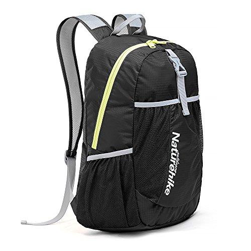HYSENM Unisex Rucksack Daypack faltbar wasserdicht Bergsteiger Reisen Camping 22L, Schwarz