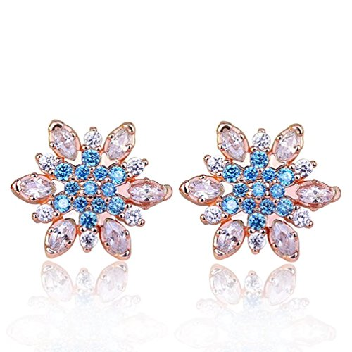 FENDINA Hypoallergenic Rose Gold Plated Colorful Cubic Zirconia CZ Stone Snowflake Flower Stud Earrings Christams Gifts for Women Girls