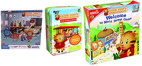Daniel Tiger Set: Daniel Tiger Neighborhood School Puzzle, Daniel Tiger Main Street Game, Daniel Tiger Game Tin with Two Games – Four Daniel Tiger Pastimes in 3 item bundle