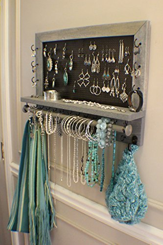 You Get To Pick The Stain, Mesh and Hook Color, Scroll Trim Series Wall Mounted Jewelry Organizer