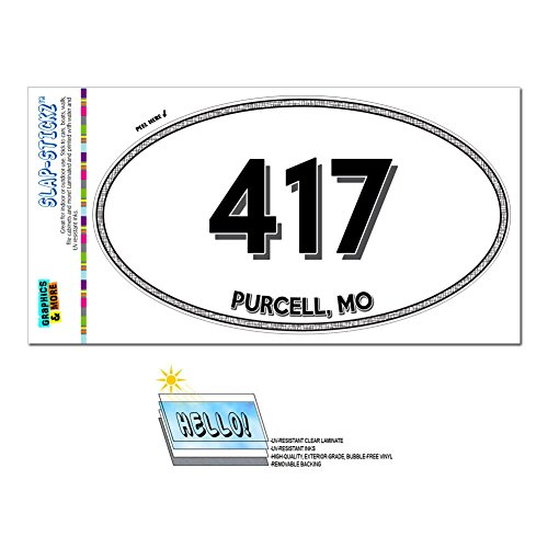 Price comparison product image Graphics and More Area Code Oval Window Sticker 417 Missouri MO Mindenmines - Schell City - Purcell