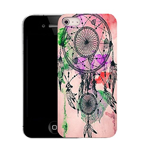 Mobile Case Mate IPhone 5S clip on Silicone Coque couverture case cover Pare-chocs + STYLET - PINK DREAMCATCHER pattern (SILICON)