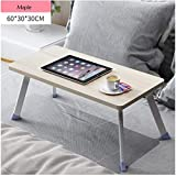 NEYIUIA Folding Table Portable Simple Folding Computer Table Laptop, PC Lazy Desk Student Dormitory Computer Stand Bed Use,Maple,603030Cm