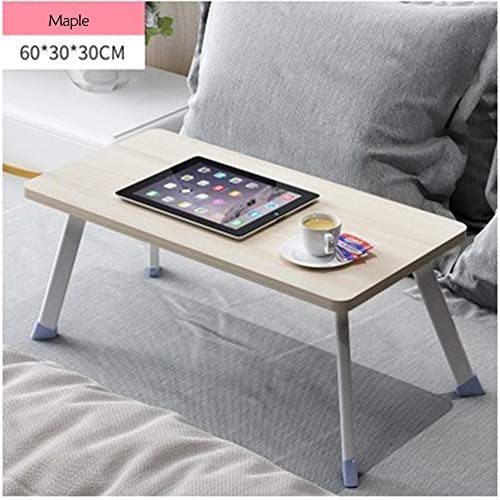(NEYIUIA Folding Table Portable Simple Folding Computer Table Laptop, PC Lazy Desk Student Dormitory Computer Stand Bed Use,Maple,603030Cm)