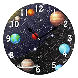 SEULIFE Wall Clock Universe Space Galaxy Solar System, Silent Non Ticking Clock for Kitchen Living Room Bedroom Home Artwork Gift