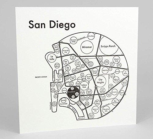 "San Diego Map 8""x8"" Letterpress"