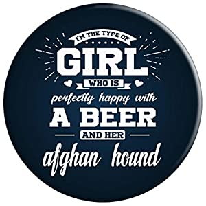 Girl Happy With Beer And Her Afghan Hound Dog Pop Socket - PopSockets Grip and Stand for Phones and Tablets