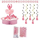 Twinkle Toes Party Decorations Supply Pack: Centerpiece, Jointed Banner, Dizzy Danglers and Straws
