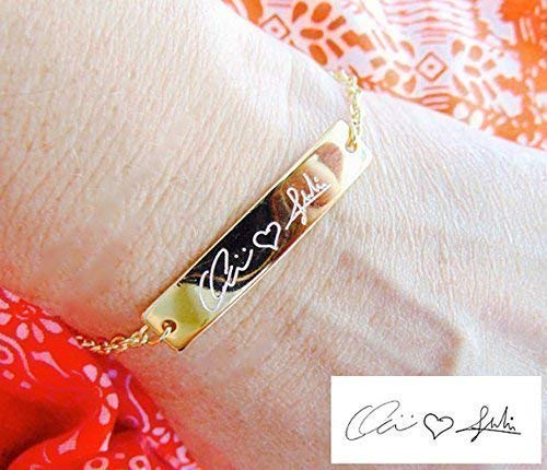 Custom Handwriting bracelet Custom signature bracelet Personalized handwritten bar bracelet 16K gold, Silver, rose gold engraved ()