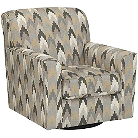 Benchcraft Braxlin 8850244 36 Quot Swivel Accent Chair With 360 Degree Rotation Loose Seat Cushion And Patterned Upholstery In
