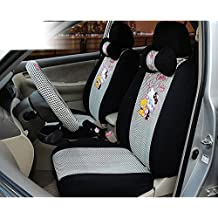 18pcs Universal Car Seat Coves Black Ice Silk Front and Back Seat Covers Elegant Car Seat Cushion Car Steering Wheel Cover