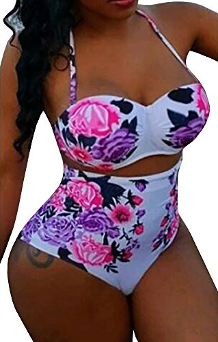 Uncinba Women's Two Pieces Halter Floral High Waist Bikini Plus Size