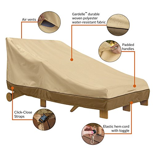 Classic Accessories 55-464-011501-00 Veranda Double Wide Patio Chaise Lounge Cover