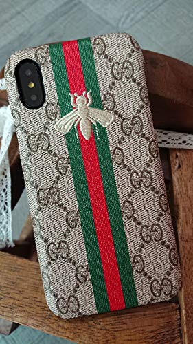 iPhone Xs MAX -US Fast Deliver Guarantee FBA- Luxury PU Leather Style Case Cover for Apple iPhoneXs Max Only (Embroidery Stripe Small Bee) (Embroidery Case)