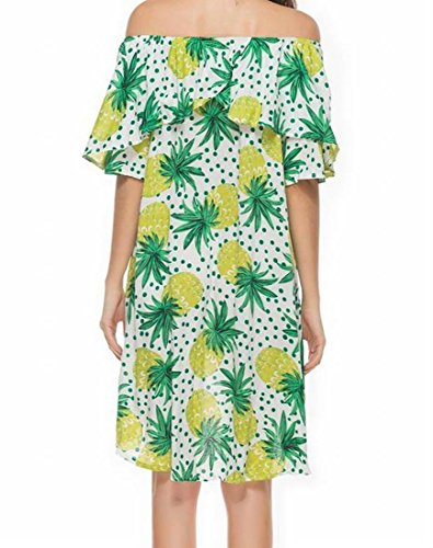 Lunghezza Verde Spalla Forma Off Coolred Donne A Del Modo Vestito In Ananas Metà Della wwZRvO