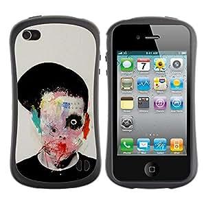 Be-Star Impreso Colorido Diseño Antichoque Caso Del Iface Primera Clase Tpu Carcasa Funda Case Cubierta Par Apple iPhone 4 / iPhone 4S ( abstract horror bow meaning art deep )