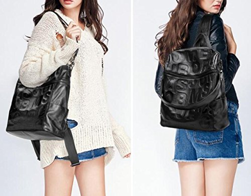 Anti Genuine Shoulder Ladies Backpacks Letterprinting theft Waterproof Leather Bag IxPFPg