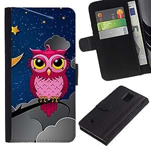 Planetar® Modelo colorido cuero carpeta tirón caso cubierta piel Holster Funda protección Para Samsung Galaxy Note 4 IV / SM-N910 ( Pink Owl In Night )