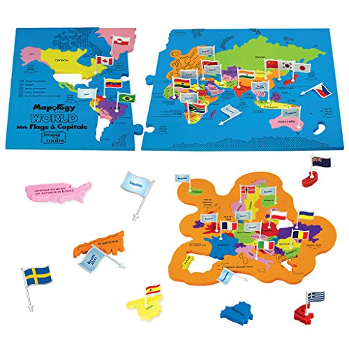 Imagimake Mapology World With Flags & Capitals- With Country Shaped