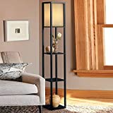 Indoor lighting 1.6m Wood Floor Lamp with Shelves for Bedroom&Living Room(no bulb) (Black)
