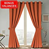 H.VERSAILTEX Room Darkening Thermal Insulated Grommet Blackout Curtains for Bedroom Three Pass Microfiber Noise Reducing 2 Panels with 2 Tie Backs, Bonus 2 Valances