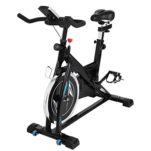 Fanala Indoor Stationary Cycling Spin Bike - Fitness Exercise Home Cardio Bike Bicycle(Black and Blue)